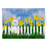 HAPPY EASTER - DAFFODILS AND BUNNY - MOTHER GREETING CARD
