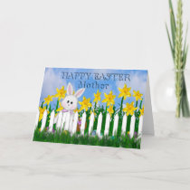 HAPPY EASTER - DAFFODILS AND BUNNY - MOTHER HOLIDAY CARD