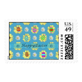 Happy Easter Daisies and Eggs on Blue Stamp