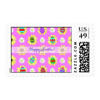 Happy Easter Daisies and Eggs on Pink Stamp