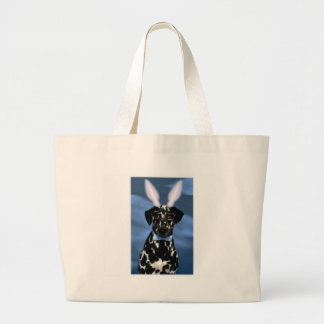 Happy Easter Dalmation Bunny Large Tote Bag