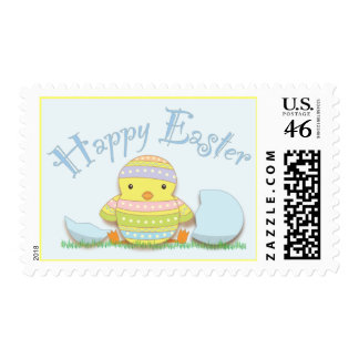 Happy Easter Decorated Chick and Egg Postage Stamp
