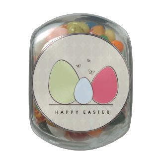 Happy Easter Design with Colorful Eggs Jelly Belly Candy Jars