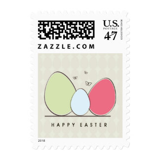 Happy Easter Design with Colorful Eggs Postage