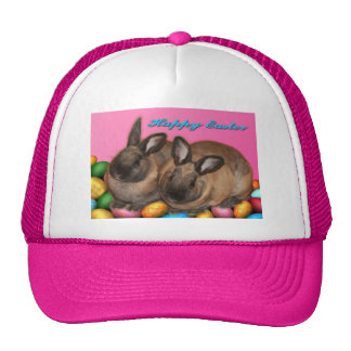 Happy Easter Easter Bunnies With Easter Eggs Hat
