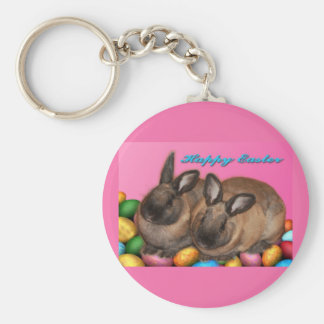 Happy Easter Easter Bunnies With Easter Eggs Keychains