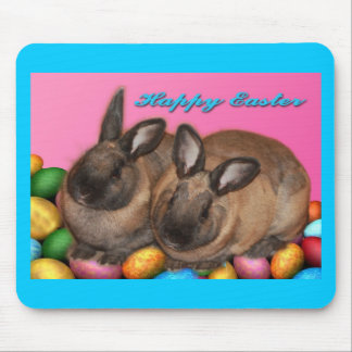 Happy Easter Easter Bunnies With Easter Eggs Mouse Pad