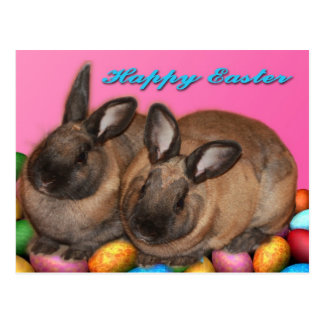 Happy Easter Easter Bunnies With Easter Eggs Postcard