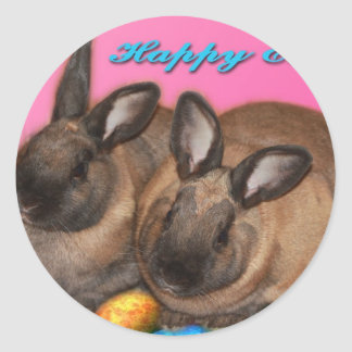 Happy Easter Easter Bunnies With Easter Eggs Round Stickers