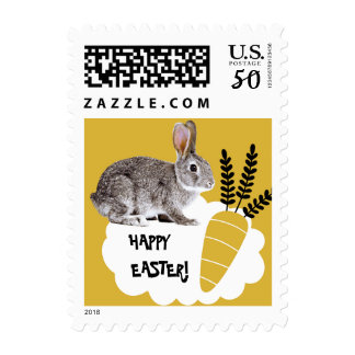 Happy Easter. Easter Bunny Postage Stamps