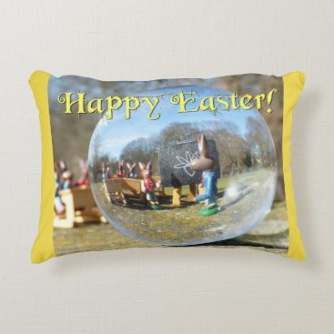 Beach Themed Happy Easter! Easter Bunny school 02.0.2.T Accent Pillow