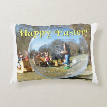 Beach Themed Happy Easter! Easter Bunny school 02.0.T Accent Pillow