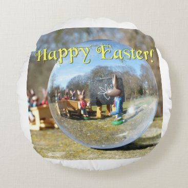 Beach Themed Happy Easter! Easter Bunny school 02.0.T Round Pillow