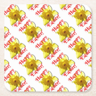 Happy Easter! Easter Bunny school 02.0.T Square Paper Coaster