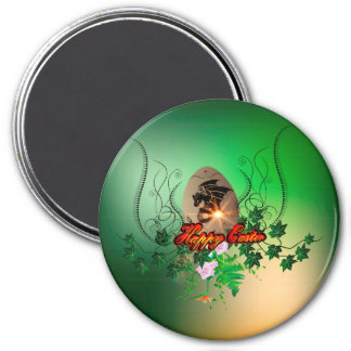 Happy easter, easter egg with funny dragon 3 inch round magnet