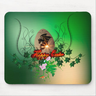 Happy easter, easter egg with funny dragon mouse pads