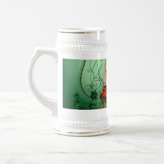 Happy easter, easter egg with funny dragon 18 oz beer stein