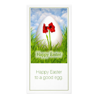 Happy Easter - Easter Egg with Red Amaryllis Photo Card