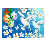 Happy Easter. Easter Eggs and Doves Greeting Cards Greeting Card