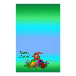 Happy Easter!  Easter - Rabbit & Eggs Stationery