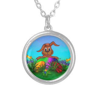Happy Easter! Easter Rabbit Round Pendant Necklace