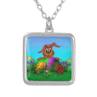 Happy Easter! Easter Rabbit Square Pendant Necklace