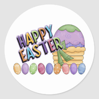 Happy Easter Egg Basket Classic Round Sticker