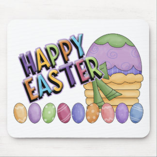 Happy Easter Egg Basket Mouse Pad