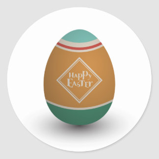 happy easter egg classic round sticker