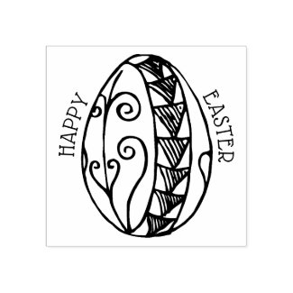 Happy Easter Egg Drawing Rubber Stamp