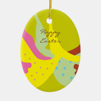 Happy Easter Egg Oval Ornament