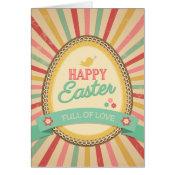 Happy Easter Egg Retro Starburst Greeting Card
