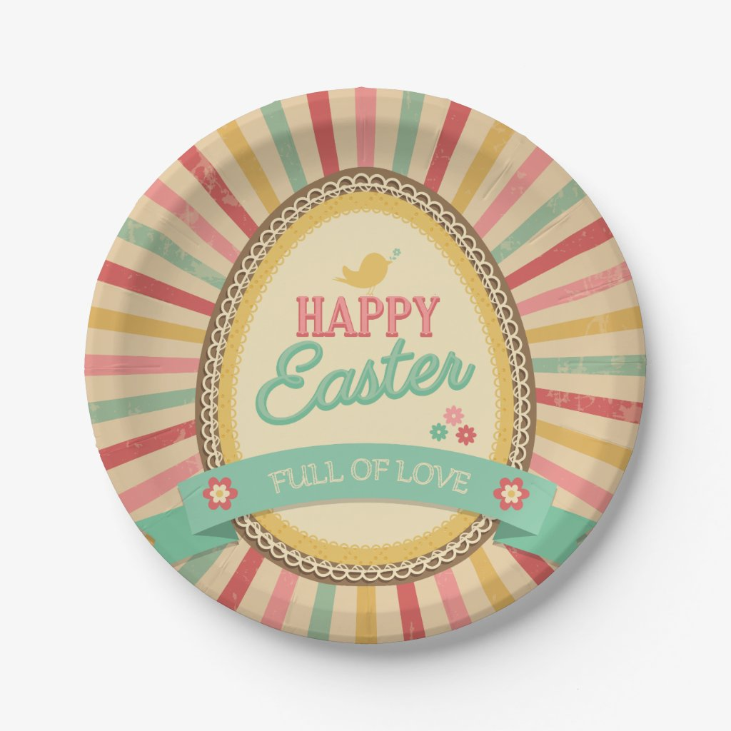 Happy Easter Egg Retro Starburst Paper Plate