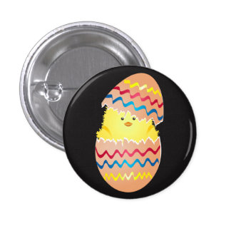 Happy Easter Egg with chicken inside Button