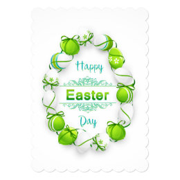 Happy Easter - Egg Wreath/Ribbons Card