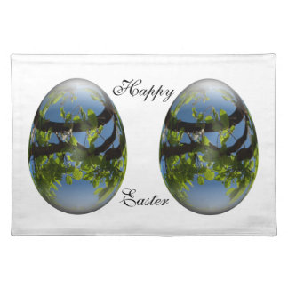 happy easter egg young leaves cloth place mat