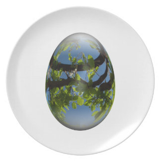 happy easter egg young leaves party plates