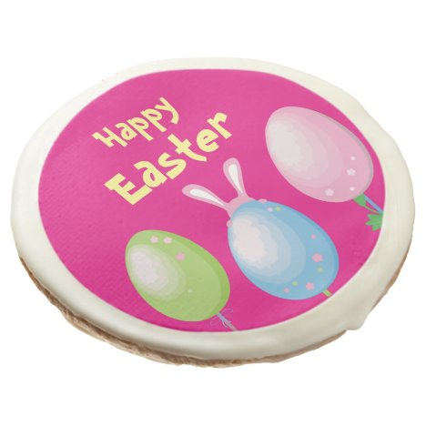Happy Easter   Eggs and Bunny Sugar Cookie