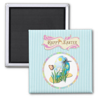 Happy Easter Eggs and Butterflies on Blue Stripes Magnet