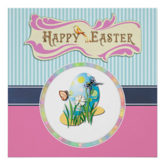 Happy Easter Eggs and Butterflies on Blue Stripes Poster
