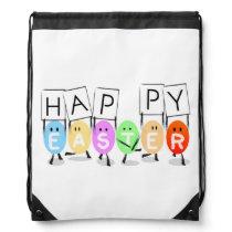Happy Easter Eggs Drawstring Bag