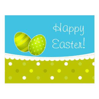 Happy Easter Eggs Green Blue Design Postcard