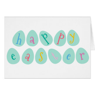 Happy Easter Eggs in Aqua Stationery Note Card
