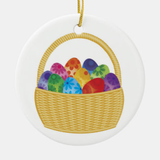 Happy Easter Eggs in Basket Ornament