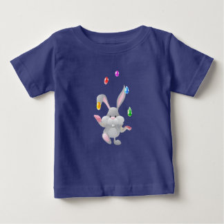 Happy Easter eggs juggling bunny design Baby T-Shirt