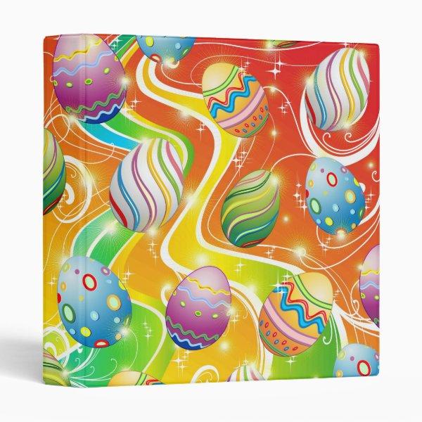 Happy Easter Eggs Ornamental Design 3 Ring Binder