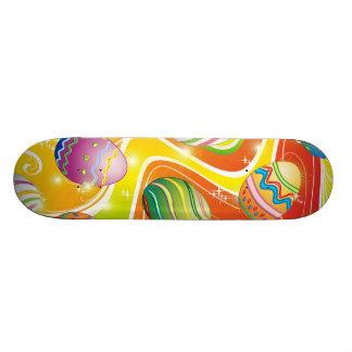 Happy Easter Eggs Ornamental Design Skateboard Deck
