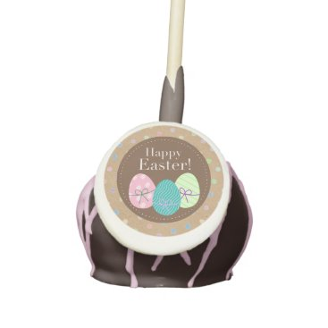 Happy Easter Eggs Polkadots On Faux Kraft Paper Cake Pops