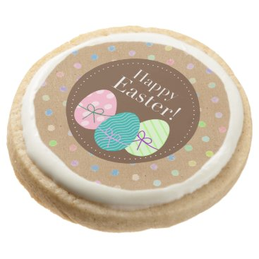 Happy Easter Eggs Polkadots On Faux Kraft Paper Round Shortbread Cookie