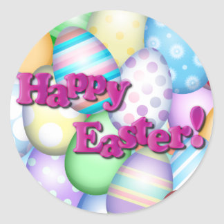 Happy Easter Eggs Classic Round Sticker